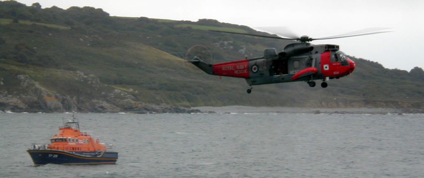Falmouth lifeboat & RNAS Culdrose Sea King Search and Rescue helicopter at 2004 Coverack Lifeboat Day